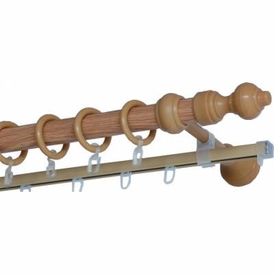 Карниз Д28 метало-деревянный с рельсой 2,4м дуб