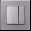 Выключатель 3-клавишный без рамки серебро 01401500-150160