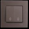 Выключатель 2-клавишный проходной без рамки антрацит 01403500-150109