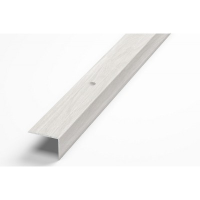 Порог-угол Д5 20х20мм алюминиевый декор ясень белый №106 длина 1,8м