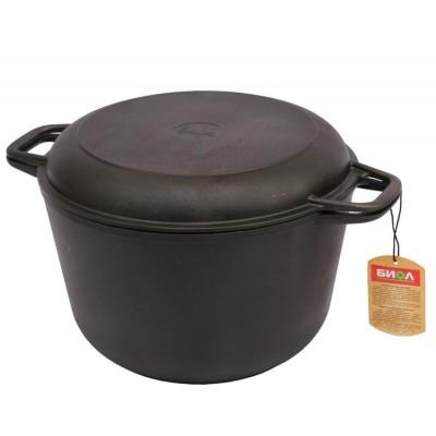 Кастрюля чугунная 4,0 л с крышкой-сковородой Биол 0204