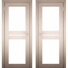 Дверное полотно АМАТИ-19 Дуб беленый Экошпон ПО-700 Белое стекло