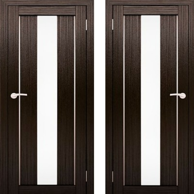 Дверное полотно Амати-05 Венге Экошпон ПО-700 белое стекло