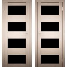 Дверное полотно АМАТИ-02 дуб беленый Экошпон ПО-800 Черное стекло