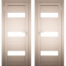 Дверное полотно АМАТИ-12 Дуб беленый Экошпон ПО-700 Белое стекло