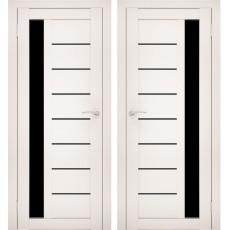 Дверное полотно АМАТИ-04 эшвайт экошпон ПО-900 черное стекло