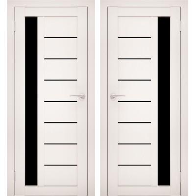 Дверное полотно АМАТИ-04 эшвайт экошпон ПО-800 черное стекло