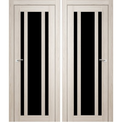 Дверное полотно АМАТИ-11 дуб беленый экошпон ПО-700 черное стекло