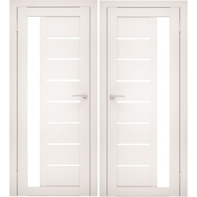 Дверное полотно АМАТИ-04 эшвайт экошпон ПО-600 белое стекло