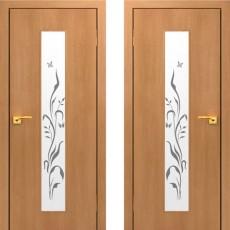 Дверное полотно остекленное с фьюзингом С-05ХС Миланский орех  ПО-600