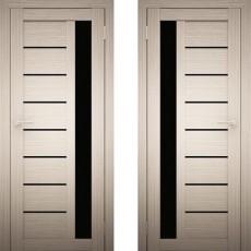 Дверное полотно АМАТИ-04 дуб беленый экошон ПО-600 черное стекло