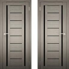 Дверное полотно АМАТИ-06 дуб дымчатый экошон ПО-600 черное стекло
