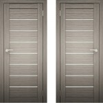 Дверное полотно Амати-01 дуб дымчатый Экошпон ПО-800 белое стекло