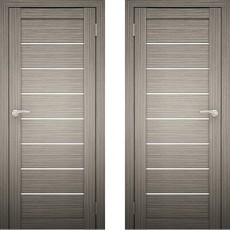 Дверное полотно АМАТИ-01 Дуб дымчатый эко-шпон ПО-700 (белое стекло)