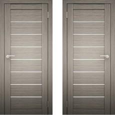 Дверное полотно Амати-01 Дуб дымчатый Экошпон ПО-700 белое стекло