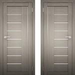 Дверное полотно Амати-07 дуб дымчатый Экошпон ПО-600 белое стекло