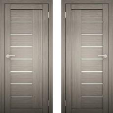 Дверное полотно Амати-07 дуб дымчатый Экошпон ПО-700 белое стекло