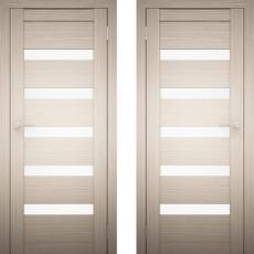 Дверное полотно АМАТИ-03 дуб беленый экошпон ПО-600 белое стекло