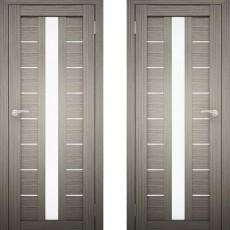 Дверное полотно АМАТИ-17 дуб дымчатый экошпон ПО-800 белое стекло