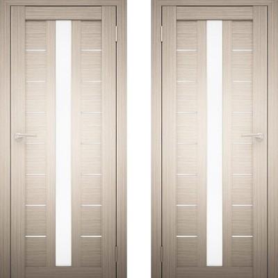 Дверное полотно АМАТИ-17 дуб беленый экошпон ПО-800 белое стекло