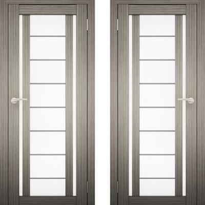 Дверное полотно АМАТИ-11 дуб дымчатый экошпон ПО-700 белое стекло