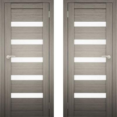 Дверное полотно АМАТИ-03 Дуб дымчатый экошпон ПО-700 белое стекло