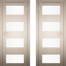 Дверное полотно АМАТИ-02 дуб беленый экошпон ПО-800 белое стекло