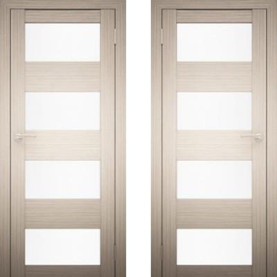 Дверное полотно АМАТИ-02 дуб беленый экошпон ПО-700 белое стекло