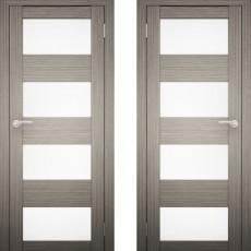 Дверное полотно АМАТИ-02 дуб дымчатый экошпон ПО-900 белое стекло