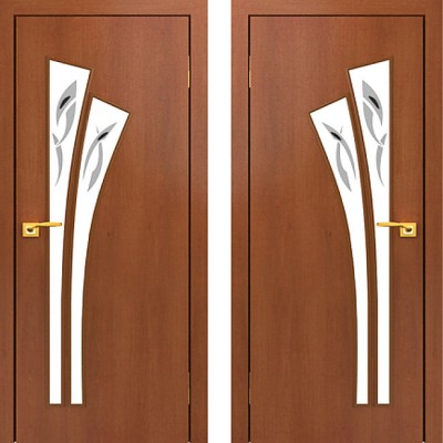 Дверное полотно остекленное с фьюзингом С-07 Итальянский орех ПОФ-800