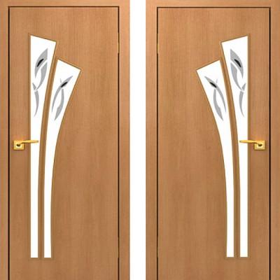 Дверное полотно остекленное с фьюзингом С-07 Миланский орех ПОФ-800