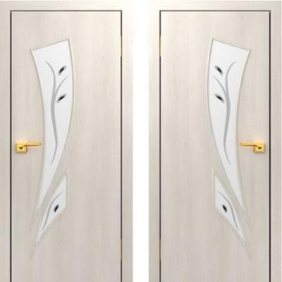 Дверное полотно остекленное с фьюзингом С-02 Дуб беленый ПОФ-700