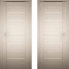 Дверное полотно АМАТИ-01 Дуб беленый экошпон ПО-600 белое стекло
