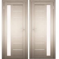 Дверное полотно АМАТИ-04 дуб беленый экошпон ПО-600 белое стекло
