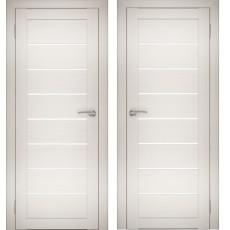 Дверное полотно АМАТИ-01 эшвайт экошпон ПО-800 белое стекло