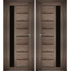 Дверное полотно АМАТИ-04(Дубшале-корица)ПО-800черноестекло