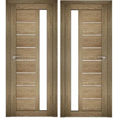 Дверное полотно АМАТИ-04 дуб шале-натуральный экошпон ПО-600 белое стекло