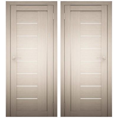 Дверное полотно АМАТИ-07 дуб беленый экошпон ПО-800 белое стекло