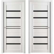 Дверь ЭКО Deluxe 302 белый бьянко ДО-600 черное стекло