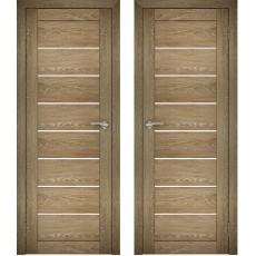 Дверное полотно АМАТИ-01 дуб шале-натуральный экошпон ПО-800 белое стекло
