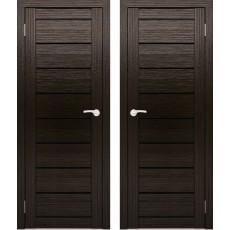 Дверное полотно АМАТИ-01 венге экошпон ПО-600 черное стекло