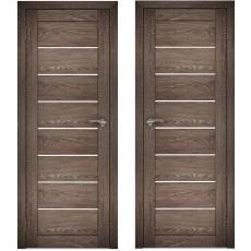 Дверное полотно АМАТИ-01 дуб шале-корица экошпон ПО-700 белое стекло
