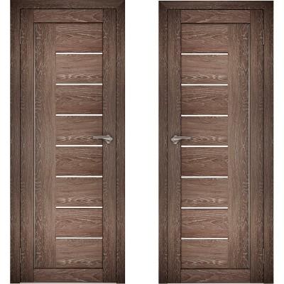 Дверное полотно АМАТИ-07 дуб шале-корица экошпон ПО-900 белое стекло