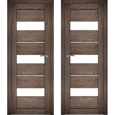 Дверное полотно АМАТИ-12 дуб шале-корица экошпон ПО-800 белое стекло