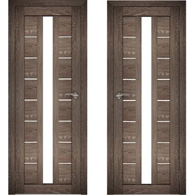 Дверное полотно АМАТИ-17 дуб шале-корица экошпон ПО-800 белое стекло