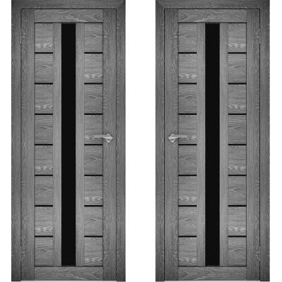 Дверное полотно АМАТИ-17 дуб шале-графит экошпон ПО-700 черное стекло