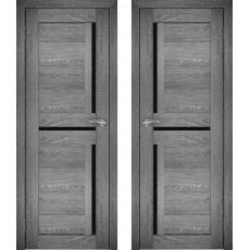 Дверное полотно АМАТИ-18 дуб шале-графит экошпон ПО-600 черное стекло
