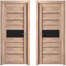 Дверь ЭКО Deluxe 303 трюфель ДО-800 черное стекло