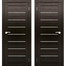 Дверное полотно АМАТИ-01 венге экошон ПО-700 белое стекло