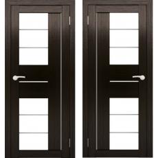Дверное полотно АМАТИ-22 венге экошпон ПО-900 белое стекло